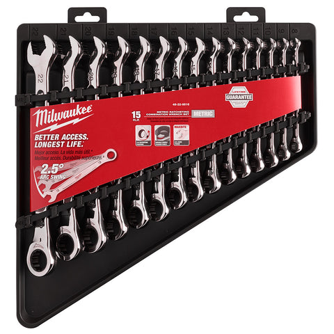 Milwaukee 48-22-9516 15 Piece Ratcheting Combination Wrench Set - Metric