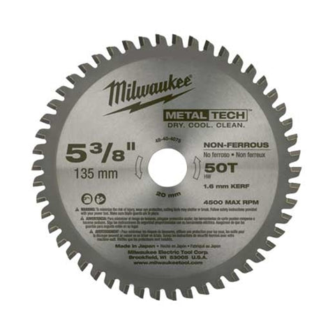 "Milwaukee 48-40-4075 5-3/8"" Metal Saw Blade 50 Tooth Non-Ferrous"