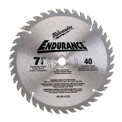 "Milwaukee 48-40-4132 7-1/4"" 48 Tooth Finishing Saw Blade with 5/8""  and Diamond Knockout Arbor"