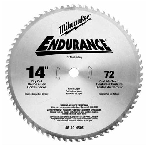"Milwaukee 48-40-4505 Circular Saw Blade 14"", 72 Tooth Dry Cut Carbide Tipped"