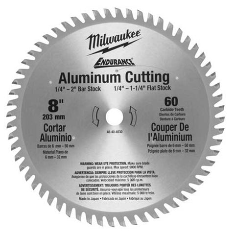 "Milwaukee 48-40-4530 8"" 60 Tooth Aluminum Circular Saw Blade"