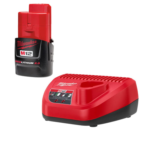 Milwaukee 48-59-2420 M12 Li-Ion 2.0 Battery and Charger Starter Kit