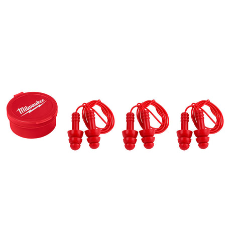 Milwaukee 48-73-31513 Reusable Corded Ear Plugs, NRR 26dB, 3 Pack