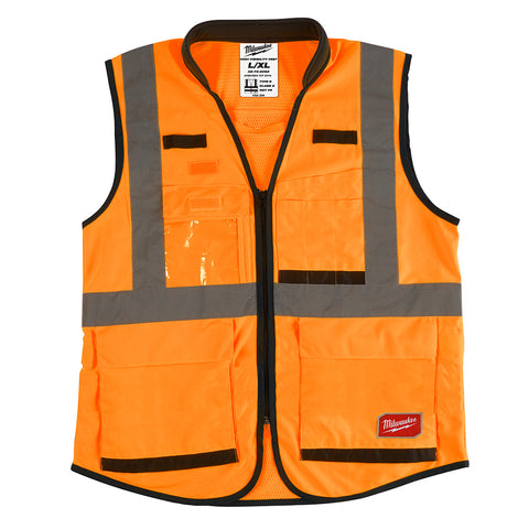 Milwaukee 48-73-5092 High Visibility Orange Performance Safety Vest - L/XL (CSA)