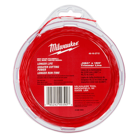 "Milwaukee 49-16-2712 .080"" x 150' Trimmer Line for Milwaukee 2725-20"
