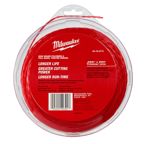 "Milwaukee 49-16-2713 .095"" x 250' Trimmer Line for Milwaukee 2725-20"
