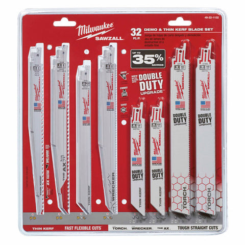 32-Piece Mega SAWZALL Blade Kit, Milwaukee Brand P/N 49-22-1132