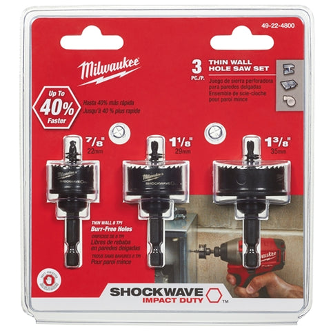 Milwaukee 49-22-4800 3pc Shockwave Hole Saw Kit