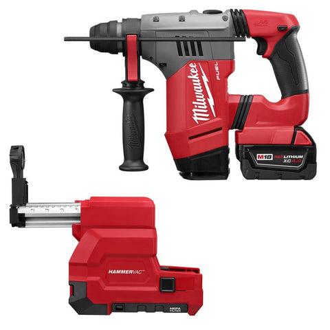 "Milwaukee 2715-22DE M18 FUEL 1-1/8"" SDS Plus Rot Hammer, HAMMERVAC Dust Extr Kit"