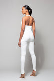 SNOH- WHITE HALTER NECK LACE-UP SUEDE JUMPSUIT