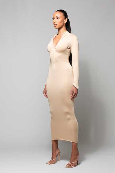 KASH - NUDE MIDAXI DRESS