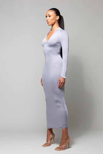 MIST- SMOKEY GREY MIDAXI DRESS