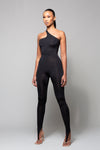 SOUL- BLACK ONE SHOULDER TIE BACK JUMPSUIT