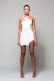 SIN - WHITE ONE SHOULDER TIE BACK DRESS