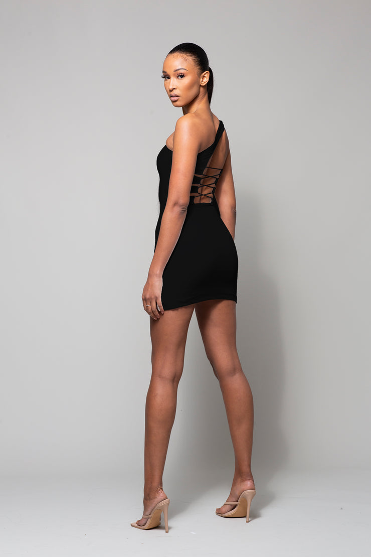 SIN - BLACK ONE SHOULDER TIE BACK DRESS