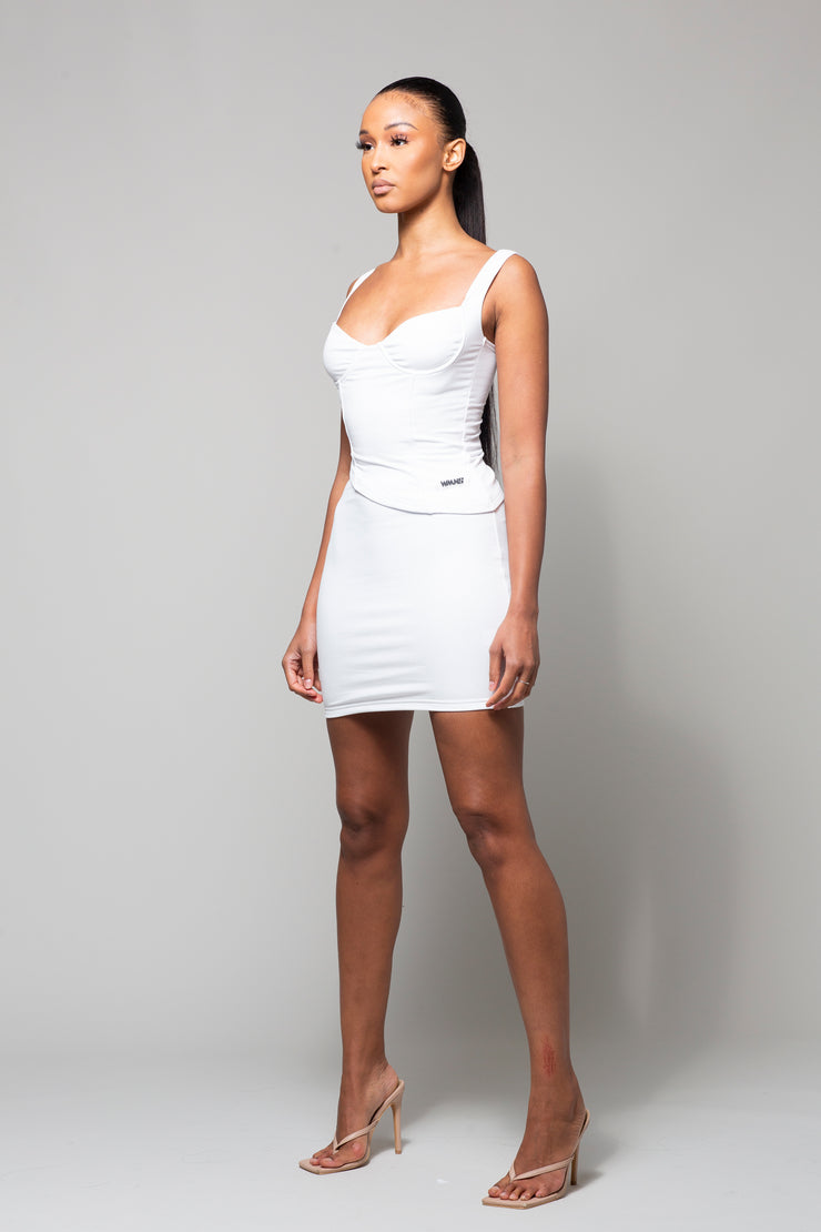 MELO- WHITE RIBBED TWO PIECE