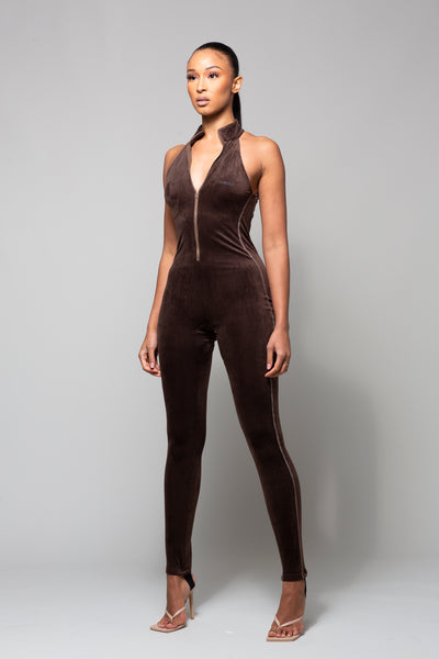 RAZOR - BROWN RIBBED JUMPSUIT