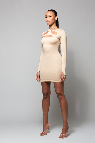 NAO- NUDE MINI DRESS