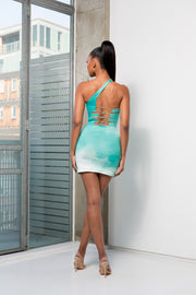 SIN 2.0 - JADE OMBRE ONE SHOULDER TIE BACK DRESS