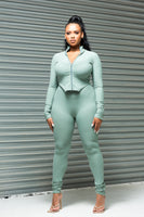EDEN- SAGE GREEN RIBBED TWO PIECE SET