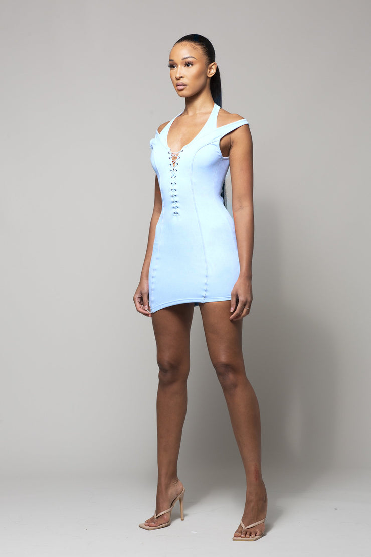 SKYE- LIGHT BLUE SUEDE DRESS