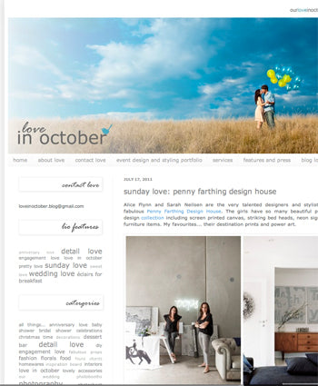 Penny Farthing Design House on Love in October