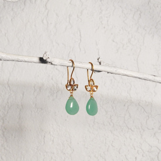 Gold Angel Crystal and Aqua Chalcedony Earrings