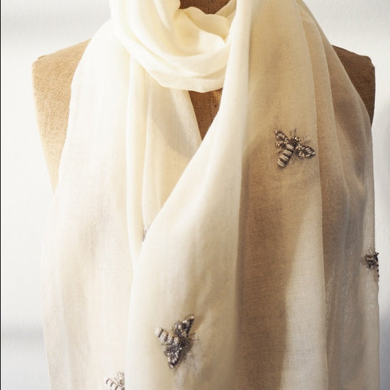 Cream Wool Scarf with Butterfly Detail