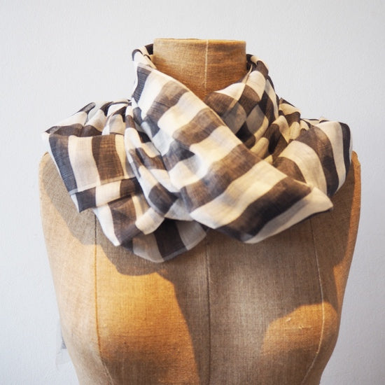 Black and White Striped Eyelash Scarf