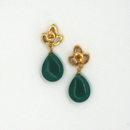 Gold Angel Green Onyx Earrings