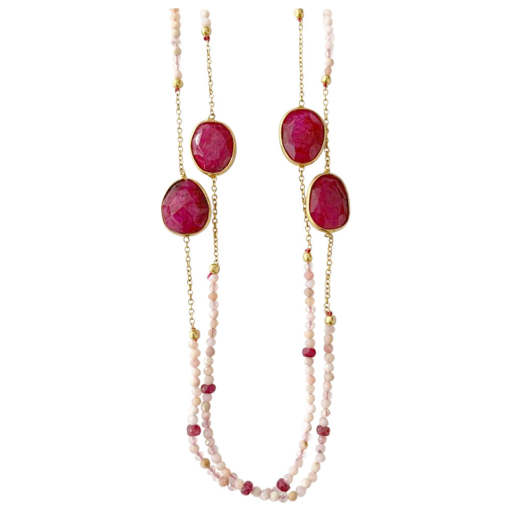 Ruby with Pink Opal Rose Gold Plated Necklace
