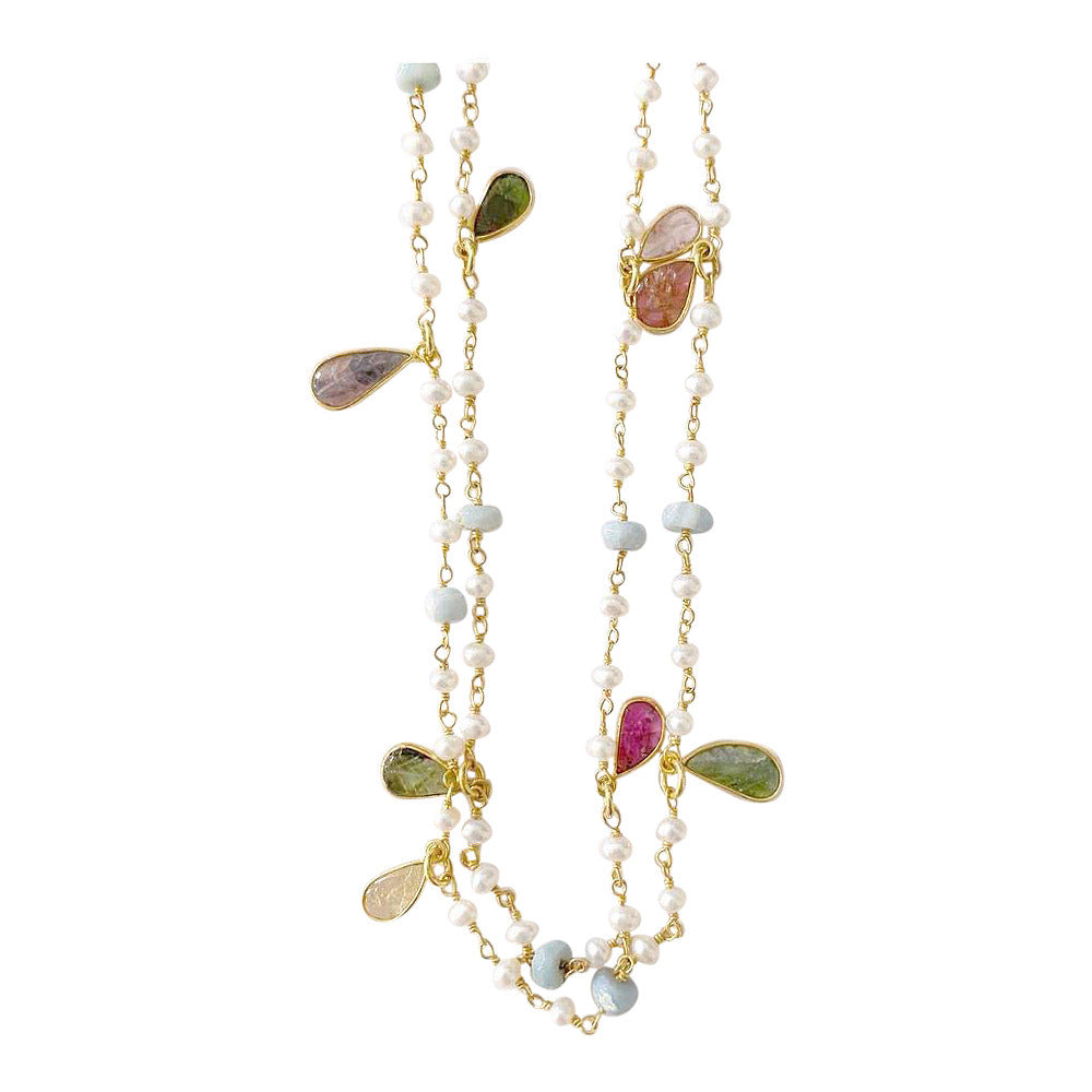 Double Length Necklace with Pearl, Opal and Tourmaline