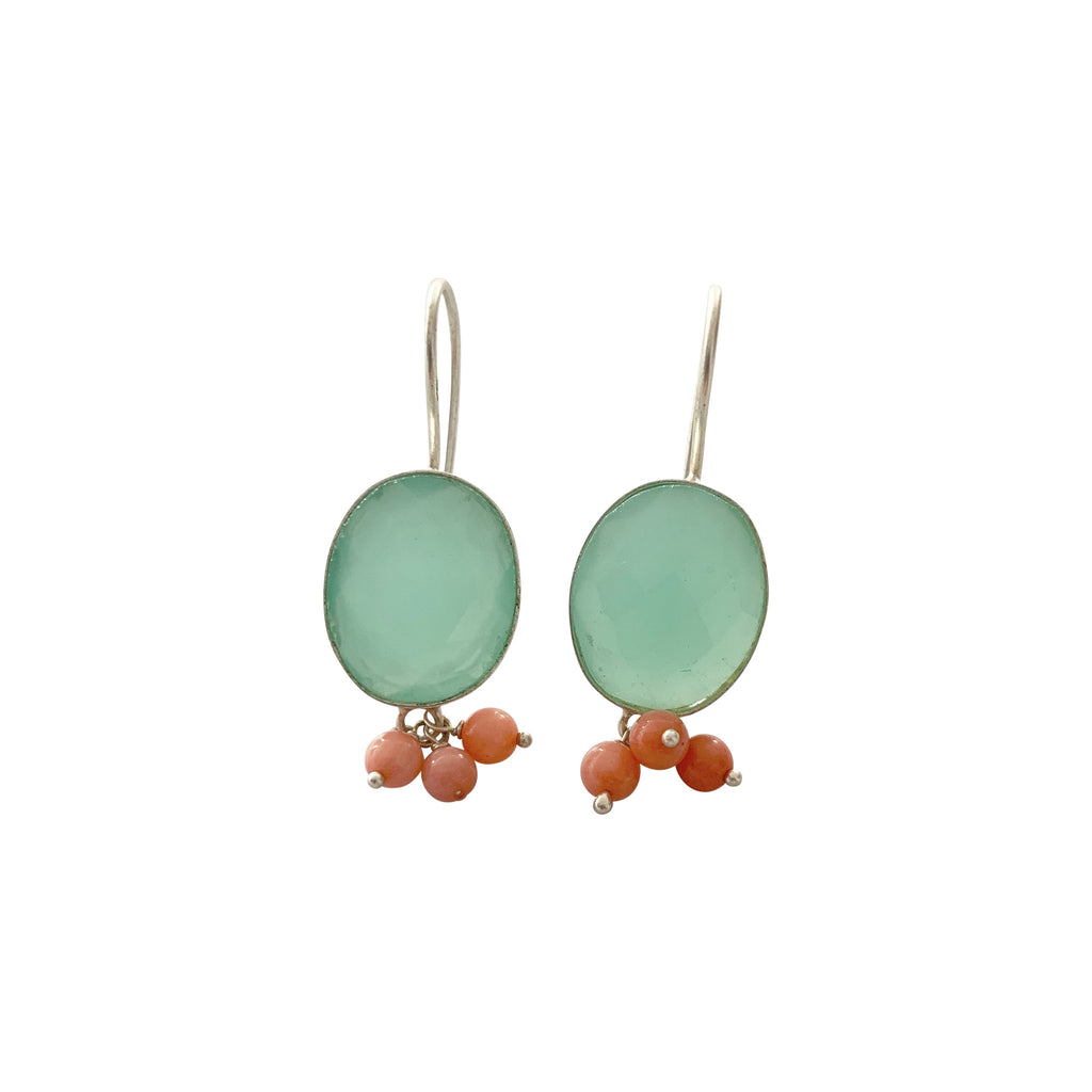 Hanging Aqua Chalcedony and Coral Earrings