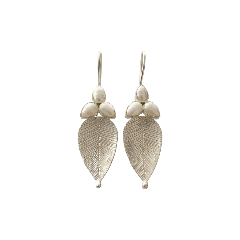 Pearl and Silver Leaf Earrings