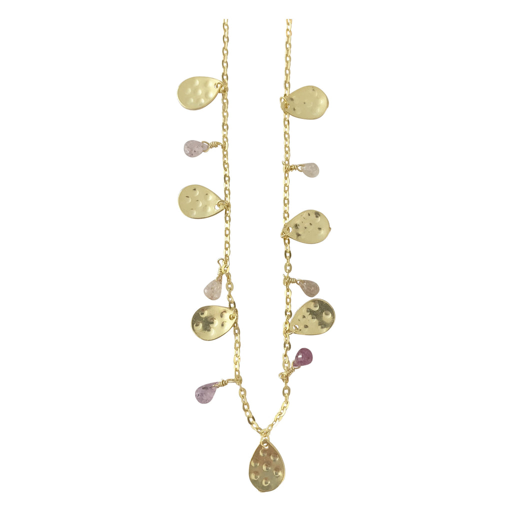 Necklace with Golden Leaf and Sapphire Drops