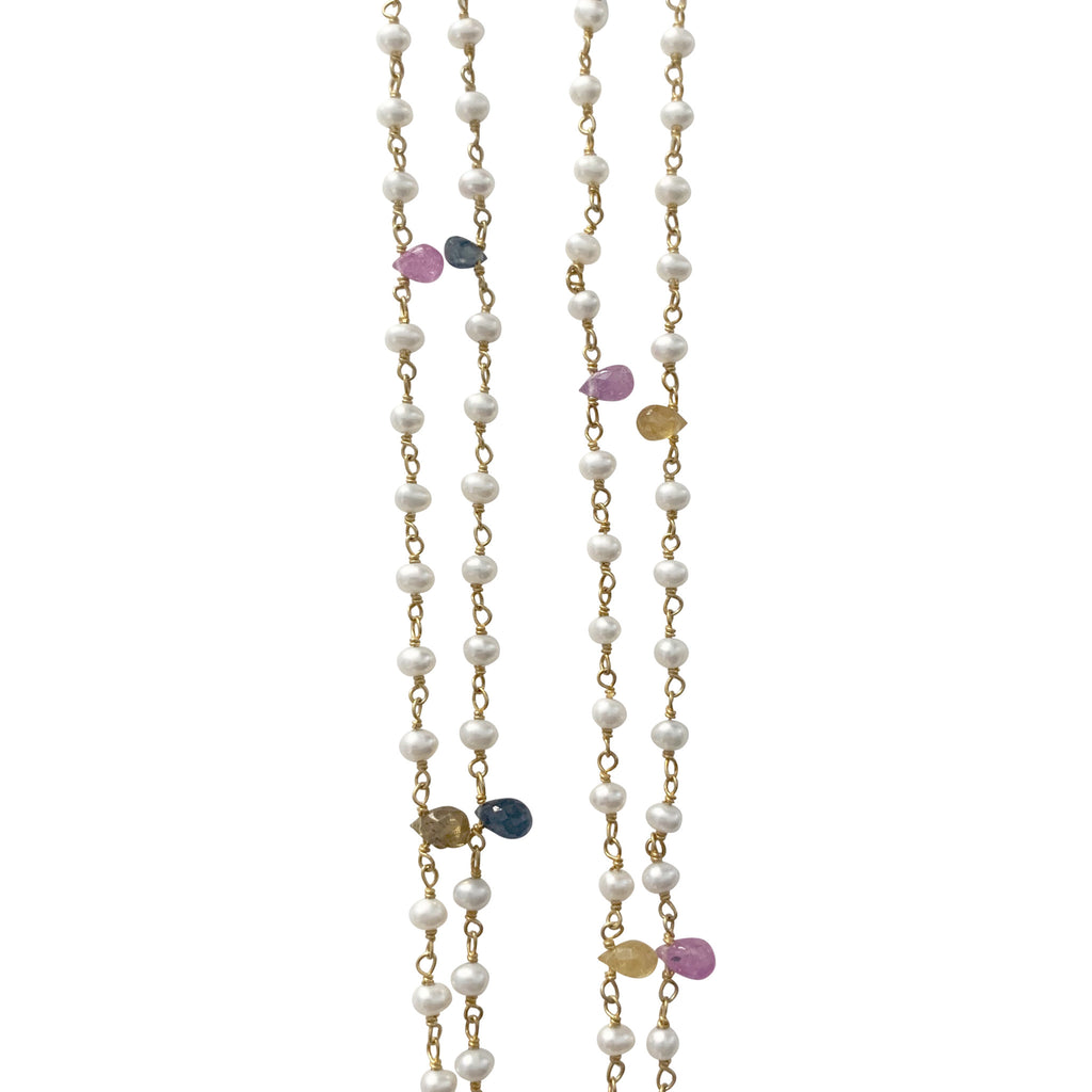 Double Length Necklace with Pearl and Sapphire Drops
