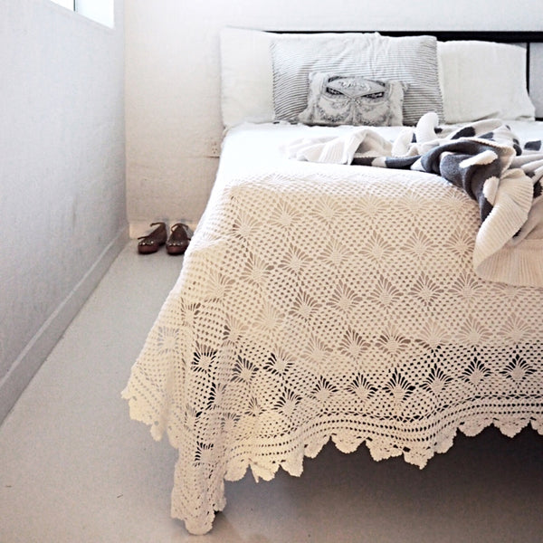 Crisp and White Crochet Bedspread