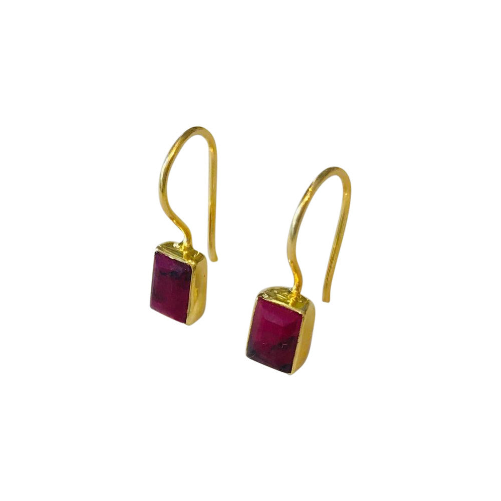 Ruby Rectangular Gold Earrings