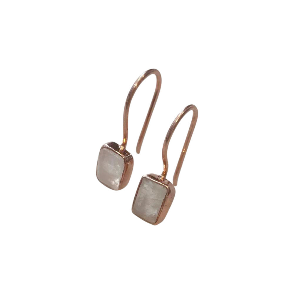 Moonstone Rectangular Rose Gold Plated Earrings