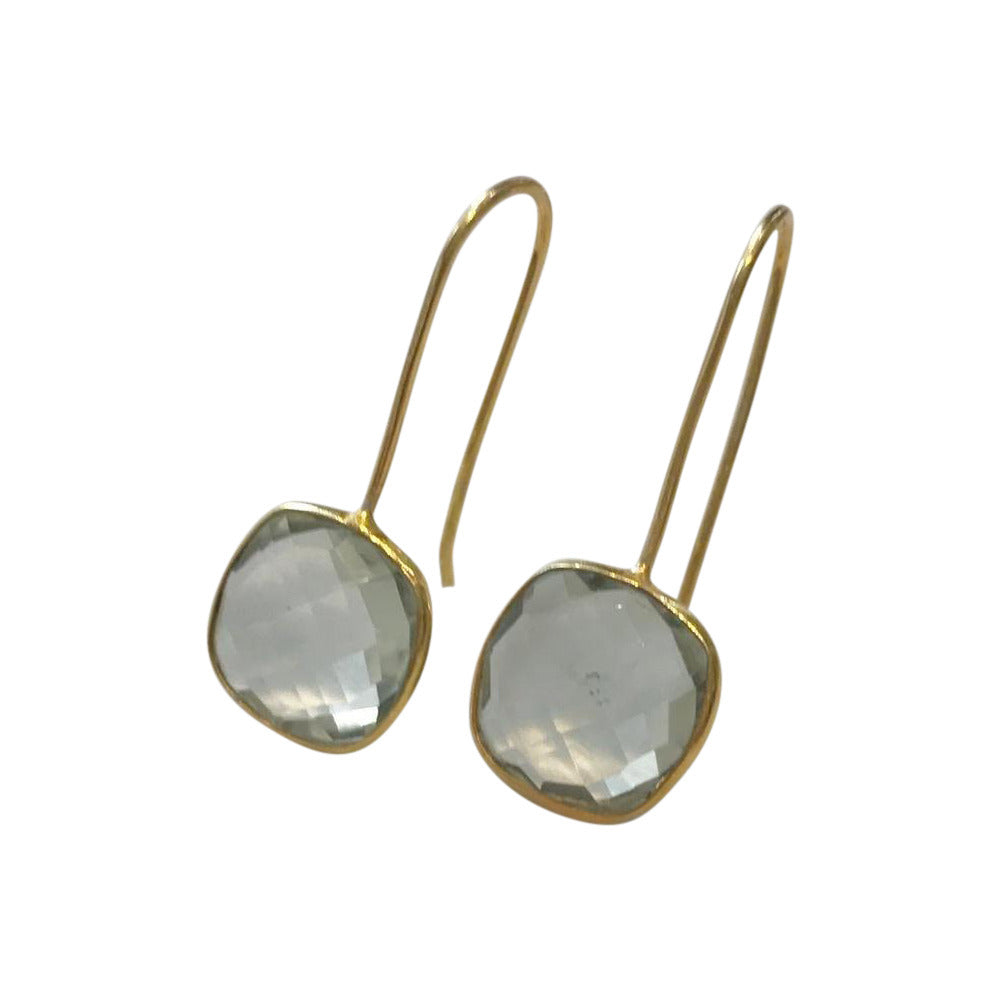 Green Amethyst Square Gold Plated Earrings