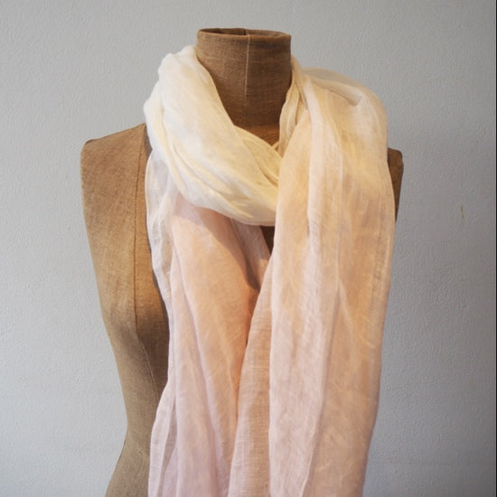Pink and White Linen Shaded Scarf