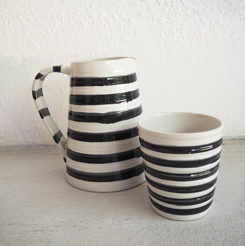 French Stripe Jug and Cup