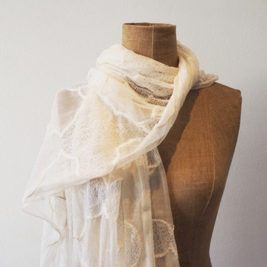 Cream and White Lace Appliqué Scarf