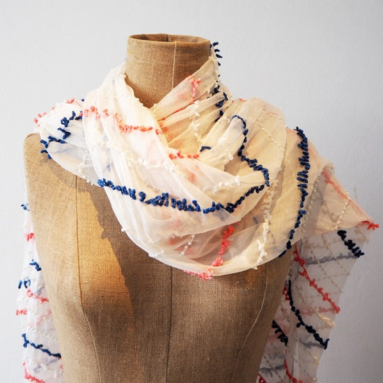 White, Coral, Navy and Pearl Scarf