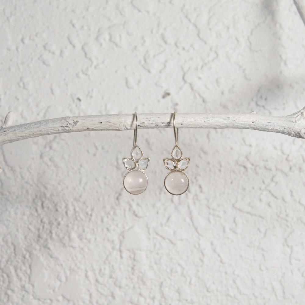 Angel Rose Quartz and Glass Polki Earrings
