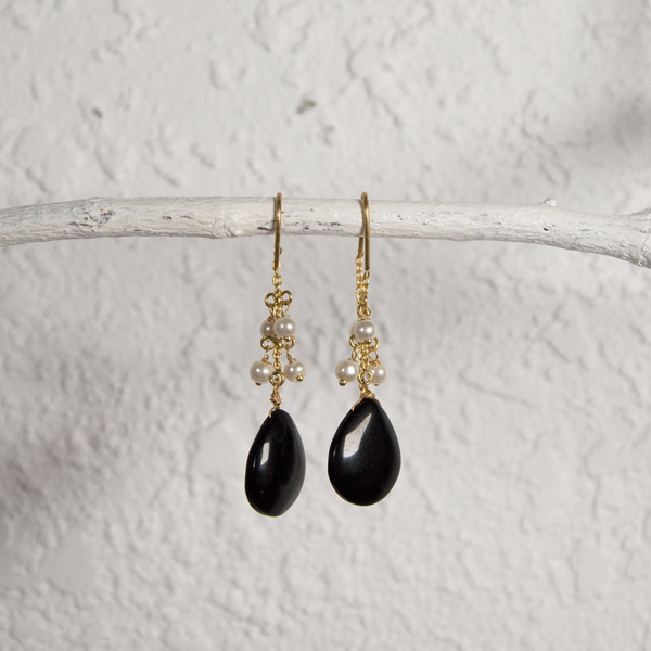 Gold Pearl and Black Onyx Earrings