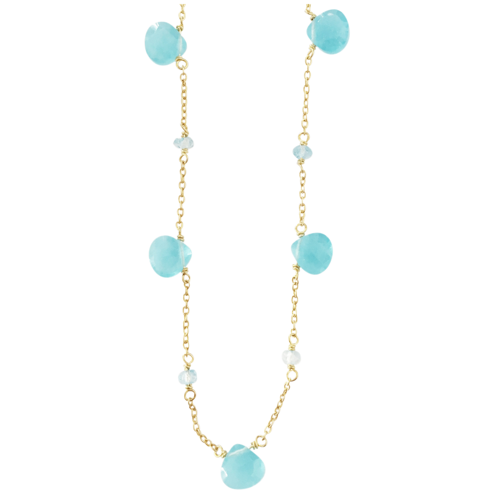 Aqua Chalcydony Gold Plated Necklace