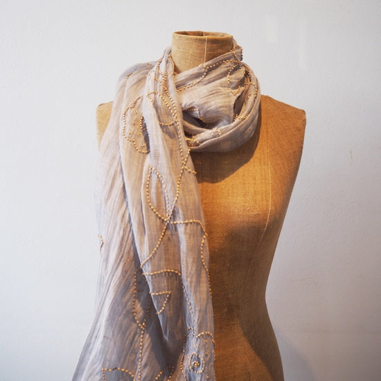 Grey Hand Beaded Scarf