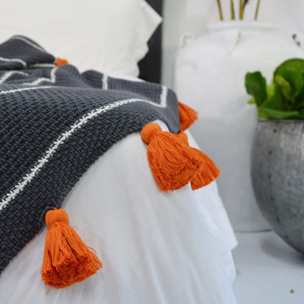 Chunky Grey Throw with Tassels