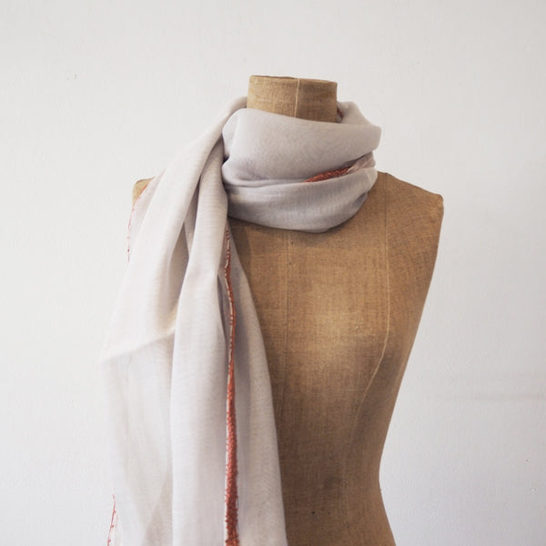 Taupe Scarf with Crochet Edge Detail